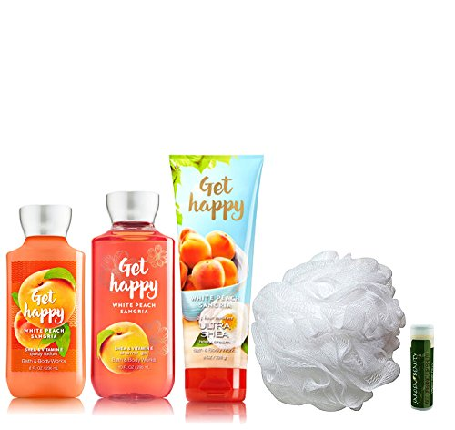 GET HAPPY Bath & Body Works Deluxe 5 Piece Gift Set of Body Lotion, Shower Gel, Ultra Shea Body Cream & Shower Puff with a Jarosa Bee Organic Peppermint Lip Balm by Jarosa Gifts