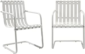 Crosley Furniture Gracie Retro Metal Outdoor Spring Chair - Alabaster White (Set of 2)