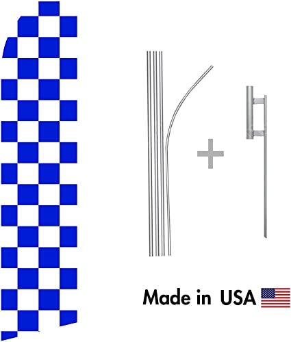 Flag Purple and White Checkered Swooper Feather Flag 16ft Aluminum Advertising Kit Pole Spike