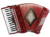 Fever F3048-RD Piano Accordion with 3 Switches, 30 Keys and 48 Bass, Red