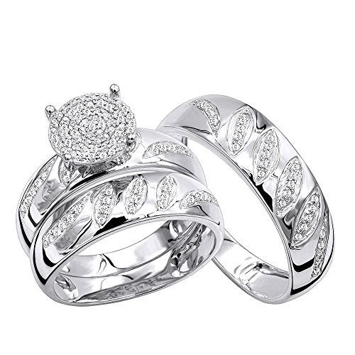 Band Wedding Platinum Diamond (10K Gold Engagement Rings and Wedding Band Set His Hers Trio Set 0.4ctw (White Gold, Size 7.5))