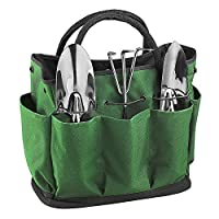 Garden Tool Bag 8 Pockets Tote Gardening Tools Storage Organizer 600D Oxford Lawn Yard Carrier Bag Compact Hand Tools Kit Holder Bag Gardening Gift