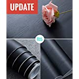 "Abyssaly 17.71"" X 78.7"" Black Wood Contact Paper Decorative Self-Adhesive Film Furniture Real Wood Tactile Sensation Surfaces Easy to Clean"