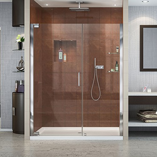 Dreamline Elegance 30 in. D x 60 in. W Kit, with Pivot Shower Door in Chrome and Right Drain White Acrylic Base