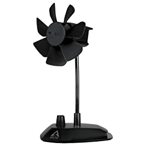 ARCTIC Breeze - USB Desktop Fan with Flexible Neck and Adjustable Fan Speed I Portable Desk Fan for Home, Office I Silent USB Fan I Fan Speed 800-1800 RPM - Black