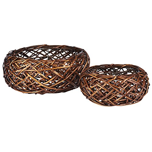 Household Essentials ML-2231 2 Piece Autumn Bird Nest Willow Basket Set