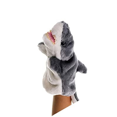 NUOBESTY Animal Hand Puppet Shark Plush Toys Role Imaginative Play Accessory for Kids Pretend Play Stocking Storytelling (Grey): Toys & Games