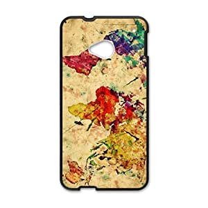 Happy Watercolor world map Cell Phone Case for HTC One M7