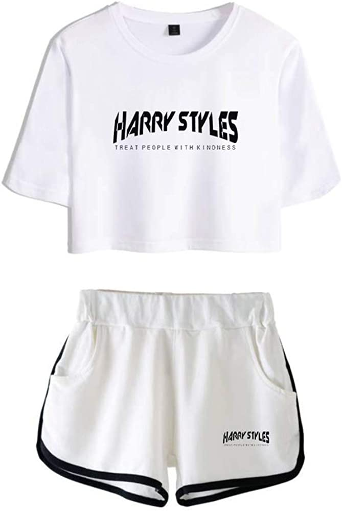 JIEDO Harry Styles T-Shirts Shorts Set Frauen l/ässig
