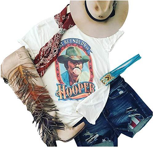 Women Burt Reynolds Hooper T-Shirt Vintage Short Sleeve O-Neck Tee Tops Size M (White) ()