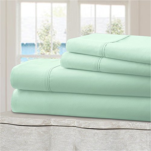 Mellanni 100% Cotton Bed Sheet Set - 300 Thread Count Sateen Weave - Natural, Soft, Deep Pocket Quality Luxury Bedding - 4 Piece (Queen, Tiffany Blue) (Tiffany Blue And White Comforter Set)