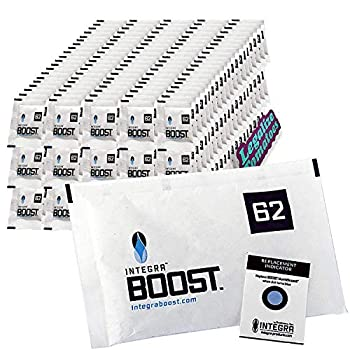 Image of Health and Household Integra Boost 67g 62% Percent 100 Pack for Humidity Control- Premium Humidifier Packets Preserve Herb Smell. Moisture Curing Gel Packs for Cigar, Humidor and Cannador. Free Legalize Tomatoes Sticker