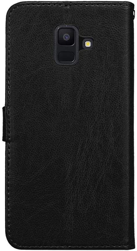 CAXPRO/® Galaxy A6 2018 Case Shockproof Wallet Cover for Samsung Galaxy A6 2018 Rose Red Slim Leather Notebook Style Case with Soft TPU Inner Bumper