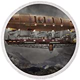 Pixels Round Beach Towel With Tassels featuring ''Steampunk - Blimp - Airship Maximus '' by Mike Savad