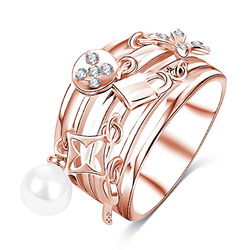 New Exquisite Fashion Jewelry Hot Sale Rose Gold Key Lock Pearl Cross Ring Gold Lock Rings