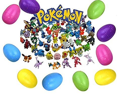 24 Pokemon Mini Figures Filled Easter Eggs. Perfect for Easter Hunting - Mini Figure Assortment