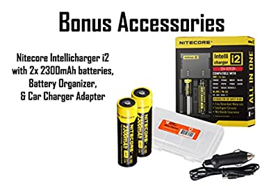 Nitecore P12GT 1000 Lumens Compact Tactical LED Flashlight, 2 x Rechargeable Batteries, i2 Two Channel Smart Charger, Lumentac Battery Organizer
