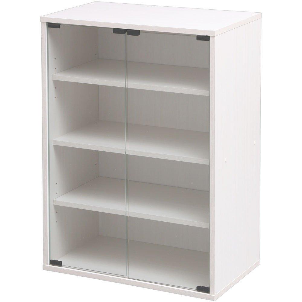 食器棚 ガラスミニキャビネット 幅59×高さ83.6 オフホワイト GSKW B076BHFL25 オフホワイト オフホワイト