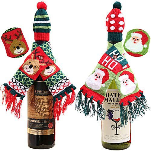 WILNARA Christmas Wine Bottle Knitted Ugly Sweater Cover Scarf and hat, Lovely Santa and Elk Christmas Decorations for Party New Year(Set of 2)]()
