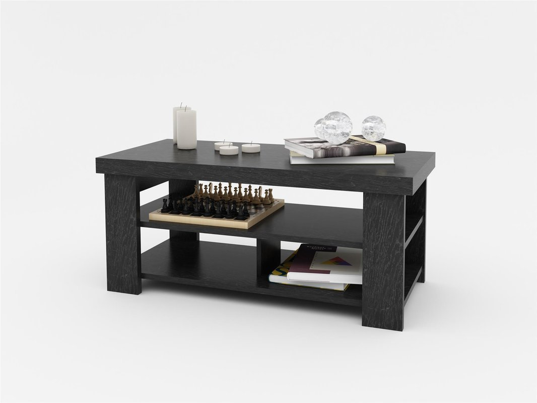 Amazon com new coffee table in black ebony ash color with 2 lower shelves for more storage made of laminated engineered wood crafted in usa kitchen