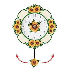 Collections Etc Bright Yellow Sunflower Wall Clock with Swinging Pendulum - Seasonal Décor for Any Room in Home