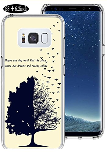 Price comparison product image S8 Plus Case Brids, Ecute Soft Slim Flexible Clear Rubber Side + Style Hard Back Case for Samsung Galaxy S8 Plus / S8+ (2017) - Tree and Brids