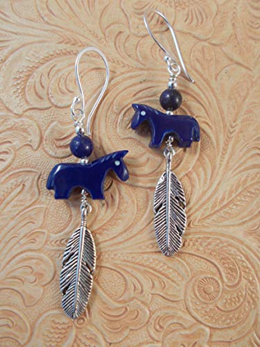 Western Rodeo Cowgirl Earrings - Carved Royal Blue Howlite Horse Fetish Beads - Southwest Style