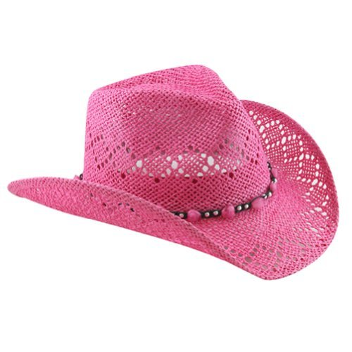 (Pink Straw Cowboy Hat for Women with Beaded Trim and Shapeable)