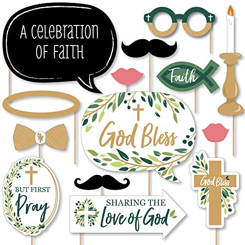 Big Dot of Happiness Elegant Cross - Religious Party Photo Booth Props Kit - 20 Count -