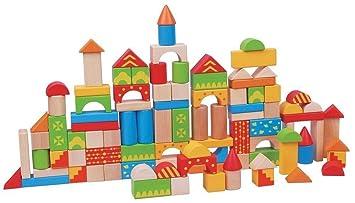 LELIN 100 Blocks Wooden Building Blocks Toy Tub For Children Kids 12 Months  +
