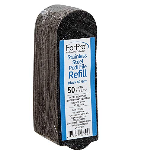 "ForPro Stainless Steel Pedi File Refill, 80 Grit, Black, EZ-Strip Peel Pedicure Refill Pads, 1.25"" W x 4"" L, 50-Count"