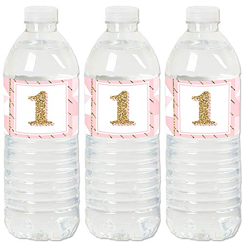 1st Birthday Girl - Fun to be One - First Birthday Party Water Bottle Sticker Labels - Set of ()