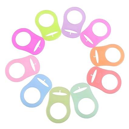 Pack de 10 Silicona botón anillo chupete chupete Holder Clip Adaptador para Mam anillos