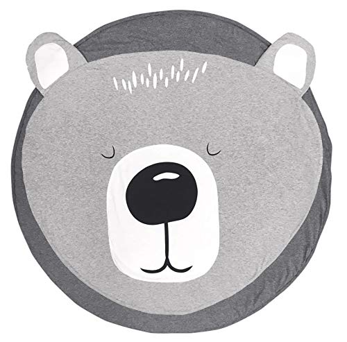 USTIDE Cotton Round Bear Nursery Rug Baby Floor Playmats Crawling Mat Game Blanket for Kids' Room Decoration Dark Gray 35.5