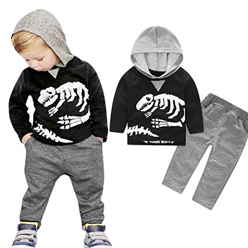 Baby Clothes, TRENDINAO Newborn Boys Girls Dinosaur Bones/Camouflage Hooded Tops+Pants