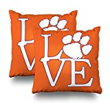 Decorative Pillow Cover Pack Of 2, 18''X18'' Two Sides Printed Clemson University Love Throw Pillow Cases Decorative Home Decor Indoor/Outdoor Nice Gift Kitchen Garden Sofa Bedroom Car Living Room