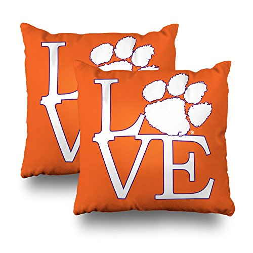 """Soopat Decorative Pillow Cover Pack of 2, 18""""X18"""" Two Sides Printed Clemson University Love Throw Pillow Cases Decorative Home Decor Indoor Nice Gift Kitchen Garden Sofa Bedroom Car Living Room from Soopat"""