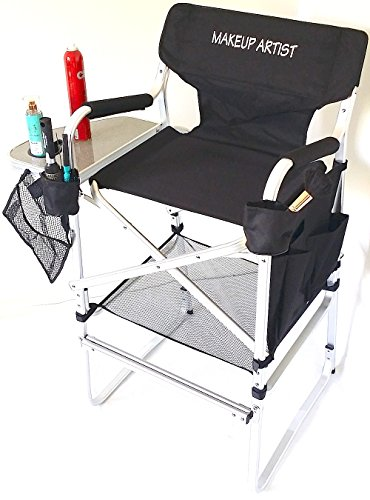 "TuscanyPro Tall Makeup Chair -Side Tray, 2 Brush Holders-Mesh Trash Bag- -29"" Seat Height-YOUR NAME PRINTED ON THIS CHAIR !!"