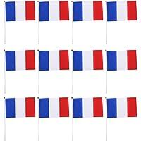 LIOOBO 50 Piezas Francia Bandera de Palo Ronda
