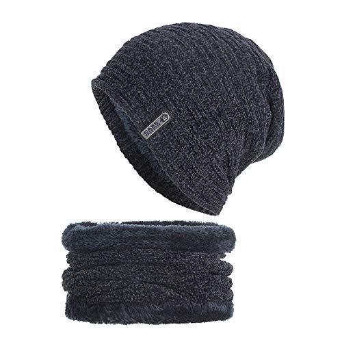 URIBAKE 2PCS Set Unisex Knitted Thick Cap Hedging Head Hat Beanie Warm Caps+Neck  Warmers 088b898cbf65