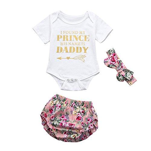 Kehen Newborn Baby Girl 3pcs Summer Outfits Letter Print Short Sleeve Romper+Flower Shorts+Bows Headband Sets (#3, 0-3 Months)