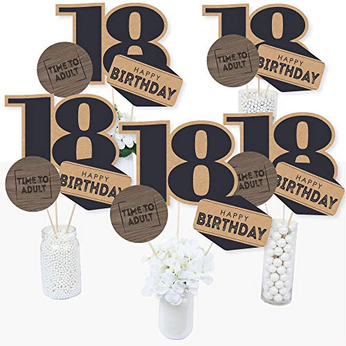 18th Milestone Birthday - Time to Adult - Birthday Party Centerpiece Sticks - Table Toppers - Set of 15 -