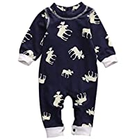 BANGELY Baby Boy Girl Lovely Long Sleeve Moose Pattern Romper Jumpsuit Outfit...