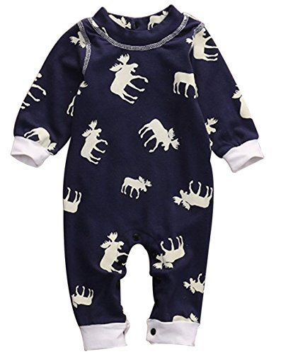 BANGELY Baby Boy Girl Lovely Long Sleeve Moose Pattern Romper Jumpsuit Outfit Set