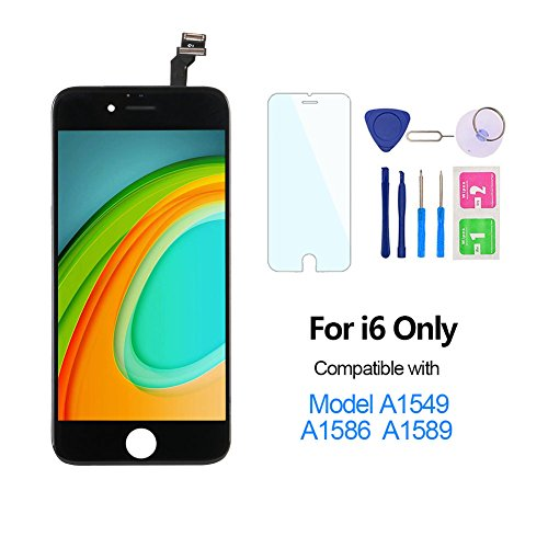 """Price comparison product image For iPhone 6 Screen Replacement 4.7"""", Miardo LCD Touch Display Digitizer Assembly Set Included Repair Tools, Compatible with Model A1549, A1586, A1589 (Black)"""