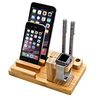 Alienwork Support station de charge pour Apple Watch 38mm/42mm Station de charge Holder Dock Station bambou naturel Handmade bambou jaune SD12-01