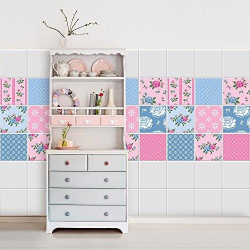 PS00039-P Fantasy Pink Decorative Tile Stickers for Bathroom and Kitchen, vinyl, 15×15 cm – 16 pz