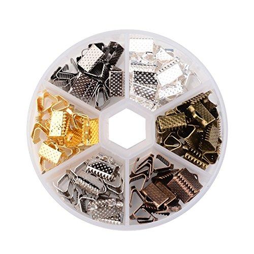 [해외]Beadthoven 1Box 1Box 120PCS 6 색 다리미 클램프 리본 엔드, 가죽 엔드, 초커 용 스웨이드 엔드, 혼합 색상, 10x7x5mm, 구멍 : 2mm/Beadthoven 1Box 1Box 120PCS 6 Colors Iron Clamps Crimp Ribbon Ends, Leather End, Suede End for Choker Makin...
