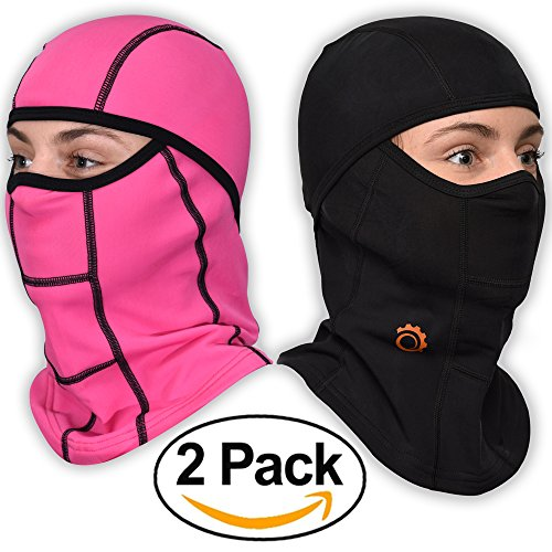 Face Mask Motorcycle Balaclava (Black + Pink - 2 Pack)