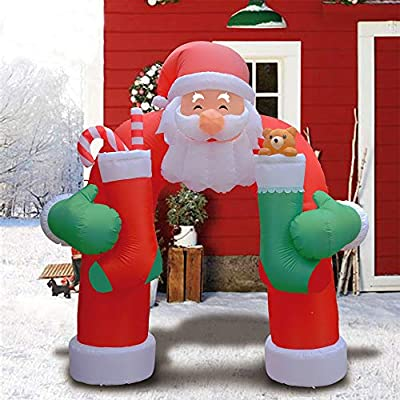 Comin 11 Foot Christmas Inflatables Santa Archway, Airblown Inflatable Archway with Gift Socks Lighted for Home Outdoor Yard Lawn Decoration